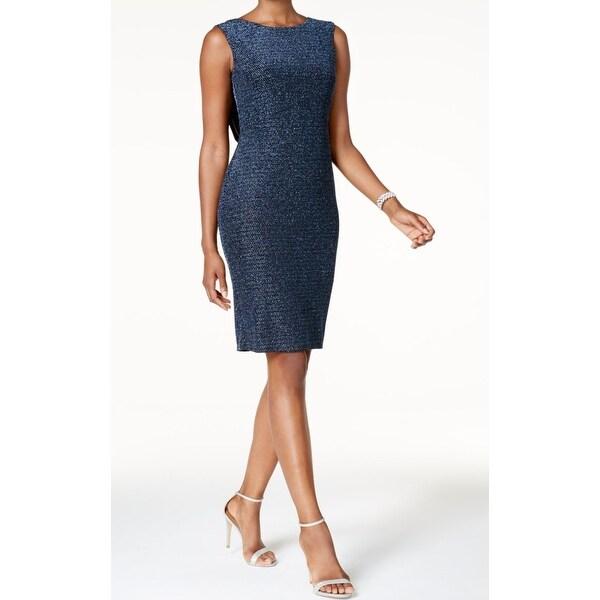 f456d6c011ef Shop Jessica Howard Blue Womens Size 16 Metallic Drape-Back Sheath Dress -  Free Shipping On Orders Over $45 - Overstock - 21444326