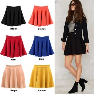 Women's Short Stretch High Waist Plain Skater Flared Pleated Mini Skirt Dresses