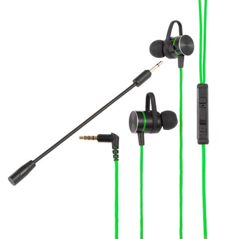 3.5mm Gaming Earbuds Dual Mic In-Ear Wired Headset For PUBG PS5 Cell Phone PC, Green Wire
