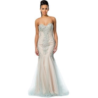 Glamour by Terani Couture Womens Strapless Beaded Evening Dress