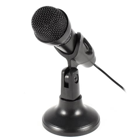 Unique Bargains 3.5mm Stereo Male Plug KTV Mini Mic Microphone Black w Stand Holder for Laptop