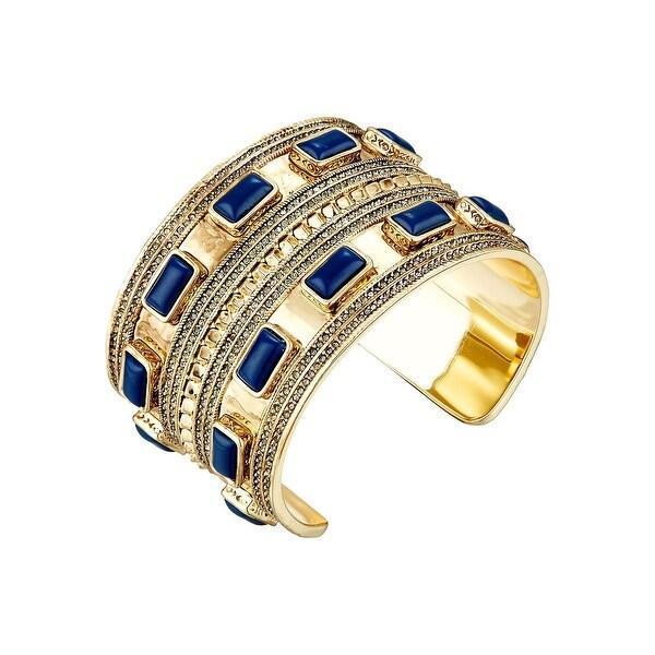 House of Harlow by Nicole Richie Womens Ananta Cuff Bracelet Lapis Stones - gold/lapis