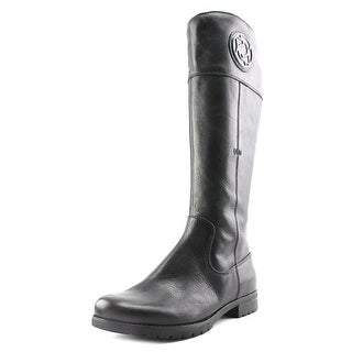 Rockport Tristina Rosette Tall Boot Wide Calf Women Leather Black Mid Calf Boot