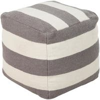 "18"" Gray and Ivory Thick Striped Wool Square Pouf Ottoman"