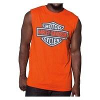 8b0be858e69b2a Harley-Davidson Men s Bright Bar   Shield Sleeveless Muscle Tank - Orange