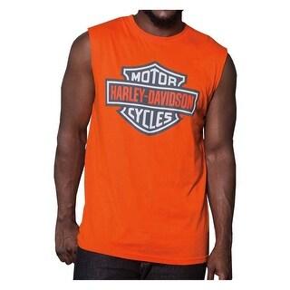 Harley-Davidson Men's Bright Bar & Shield Sleeveless Muscle Tank - Orange