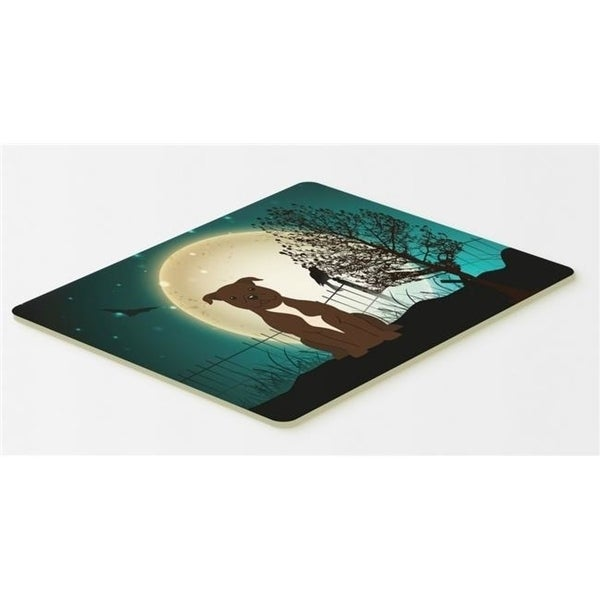 Carolines Treasures BB2238CMT Halloween Scary Staffordshire Bull Terrier Chocolate Kitchen or Bath Mat 20 x 30