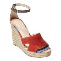 Cole Haan Women's Giselle High Espadrille Wedge II Sandal Cinnabar Suede/Java Leather