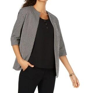 Anne Klein Womens Jacket Black Size 14 Jacquard Knit Topper Open Front