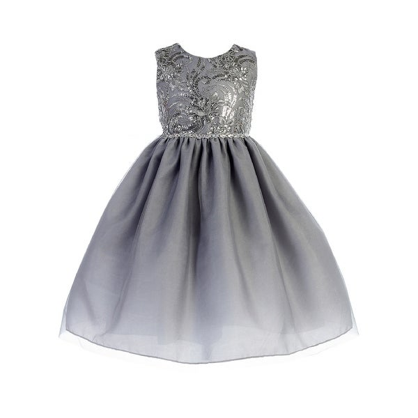 c70779b9608 Shop Crayon Kids Little Girls Silver Sequin Embroidered Flower Girl Dress - Free  Shipping On Orders Over  45 - Overstock - 23140499