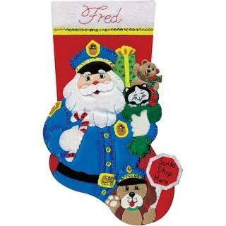 "Policeman Santa Stocking Felt Applique Kit-18"" Long"