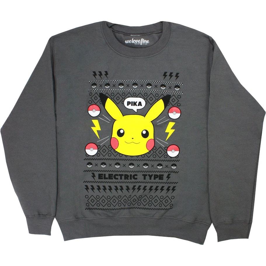 Pokemon Christmas Sweater.Pokemon Pikachu Christmas Men S Gray Sweater