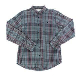 Ezekiel NEW Blue Purple Mens Large L Button Down Flannel Plaid Shirt