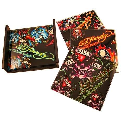 Set of 4 Ed Hardy `Skulls` Black Glass Coasters - 0.25 X 4 X 4 inches