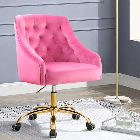 Velvet Swivel Upholstered adjustable height Home office Chair With Golden Legs