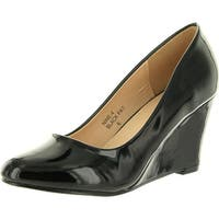 Bella Marie Womens Nine-4 Wedge Pumps Shoes - Black