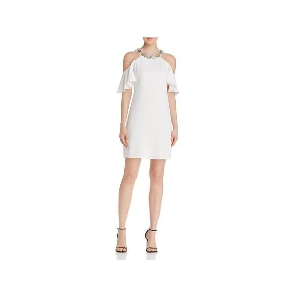 Aidan Mattox Womens Party Dress Cold Shoulder Mini