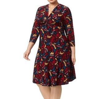 Anne Klein Red Women's Size 1X Plus Geo Twist Front Sheath Dress