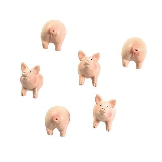 Trendform Cute Pig And Hedgehog Resin Magnet Sets - Set of 6 Animal Shape Refrigerator Magnets - .75 in. x .75 in. x 1 in.