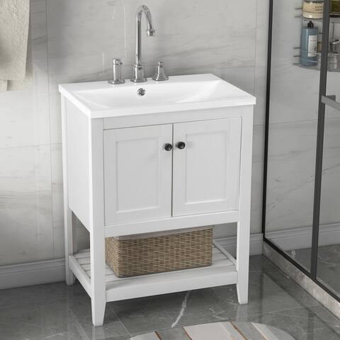 White Modern Sleek Bathroom Vanity Elegant Ceramic Sink with Solid Wood Frame Open Style Shelf