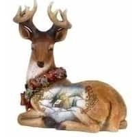 "6"" Joseph's Studio Snowfall Valley Sitting Scenic Deer Christmas Figure"