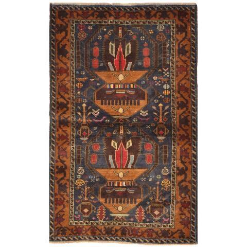 Handmade One-of-a-Kind Tribal Balouchi Wool Rug (Afghanistan) - 2'8 x 4'3