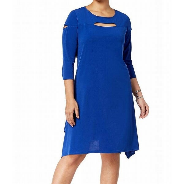 Ny Collection Blue Women's Size 1X Plus Keyhole A-Line Dress