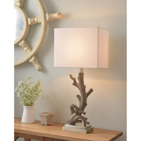Luckett Driftwood and Brushed Steel 31 Inch Table Lamp