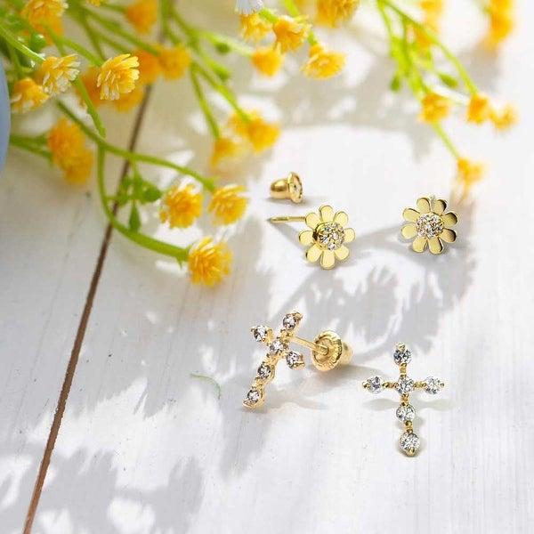 Girls Jewelry 14K Yellow Gold Seashell Screw Back Stud Earrings