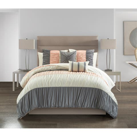 Chic Home Fae 9 Piece Ruched Color Block Comforter Set