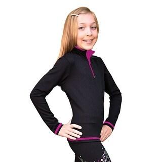 ChloeNoel Girls Womens Fuchsia Mock Collar Long Sleeve Skating Top 6-L