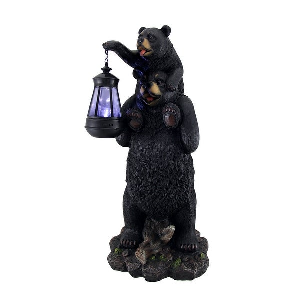 Lifting Spirits Bear Cub on Shoulders Statue and Solar LED Lantern - 19 X 8.5 X 8 inches