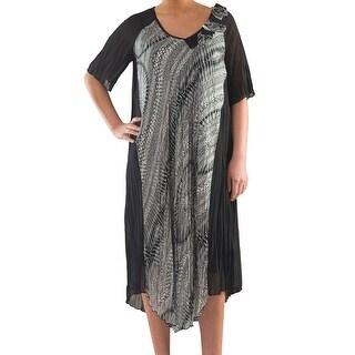 Chiffon Dress with Print Satin - Sizes 14, 16, 18 & 20 - Plus Size Clothing - La Mouette Collection