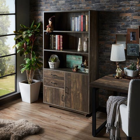 Furniture of America Jart Country Oak Multi-storage Bookshelf