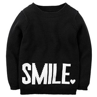 """Carter's Little Girls' """"Smile"""" Sweater; Black/White, 2 Toddler"""