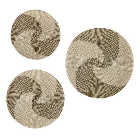 "Round Black and White Swirl Natural Round Seagrass Wall Decor Trays Set of 3 28.5"" 23.5"" 20"""