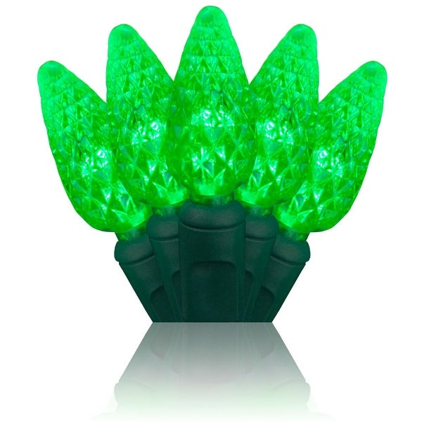 Wintergreen Lighting 20324 70 Bulb C6 Green LED Christmas Lights - N/A