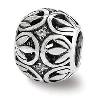 Sterling Silver Reflections CZ Leaf Filigree Bead (4mm Diameter Hole)