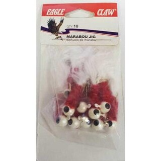 Eagle Claw Laker Maribou Jig 1/8 10ct White/Red/White