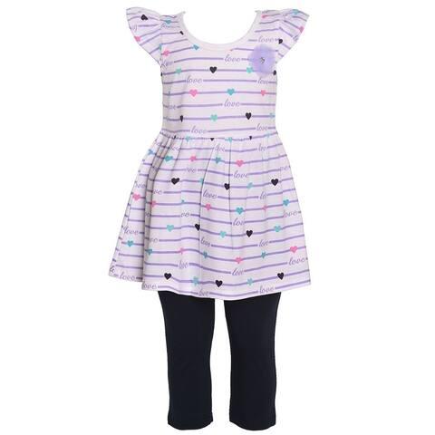 Littoe Potatoes Girls Lavender Stripe Heart Tunic 2 Pc Legging Set