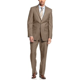Kenneth Cole Reaction Mens Brown Pin Dot 2-Button Business Suit 36R Pants 29W