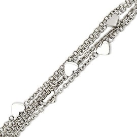 Stainless Steel Multiple Chain with Hearts 8in Toggle Bracelet