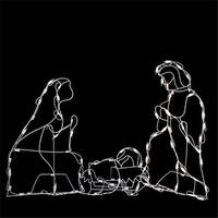 """25.5"""" Holy Family Nativity Scene Lighted Outdoor Christmas Decoration - WHITE"""