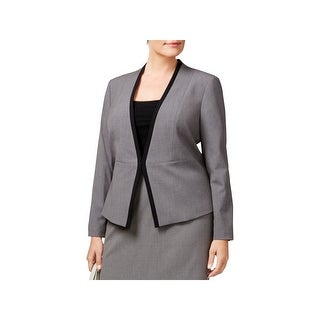 Nine West Womens Plus Open-Front Blazer Contrast Trim Long Sleeves - 20W