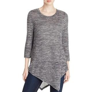 Cupio Womens Tunic Sweater Asymmetrical 3/4 Sleeves