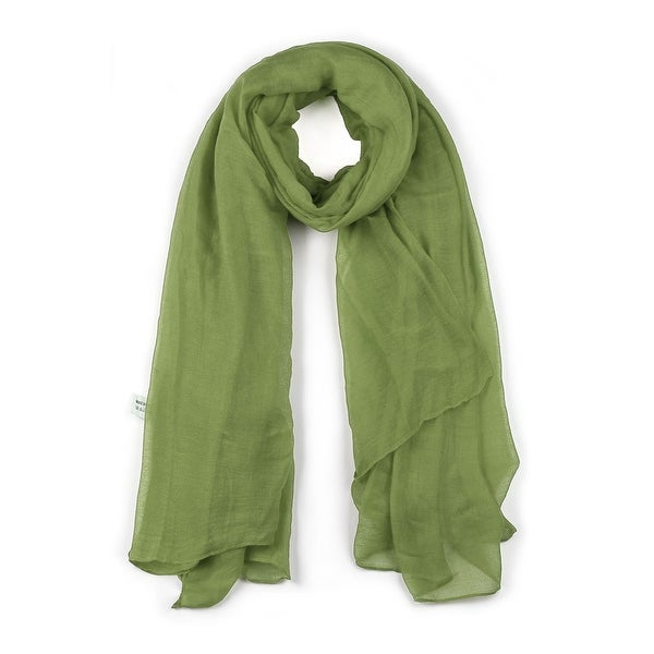 Long Warm Shawl Large Soft Solid Color Scarf for Women Men Light Green-1