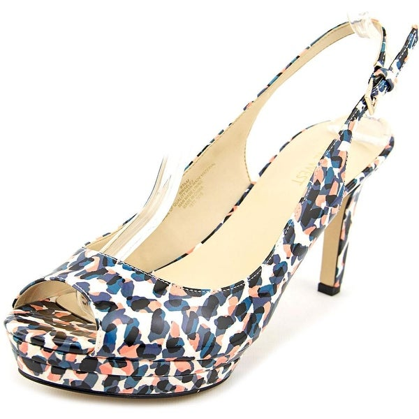 Nine West Able Women  Peep-Toe Synthetic Multi Color Slingback Heel