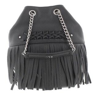 Lauren Ralph Lauren Womens Barton Eloise Bucket Handbag Leather Fringe - small