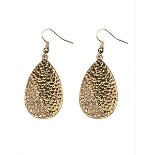 max & MO Gold Hammered Teardrop Partial Studded Earring