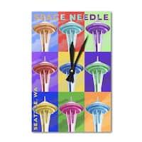 Seattle, WA - Space Needle Pop Art - LP Artwork (Acrylic Wall Clock) - acrylic wall clock